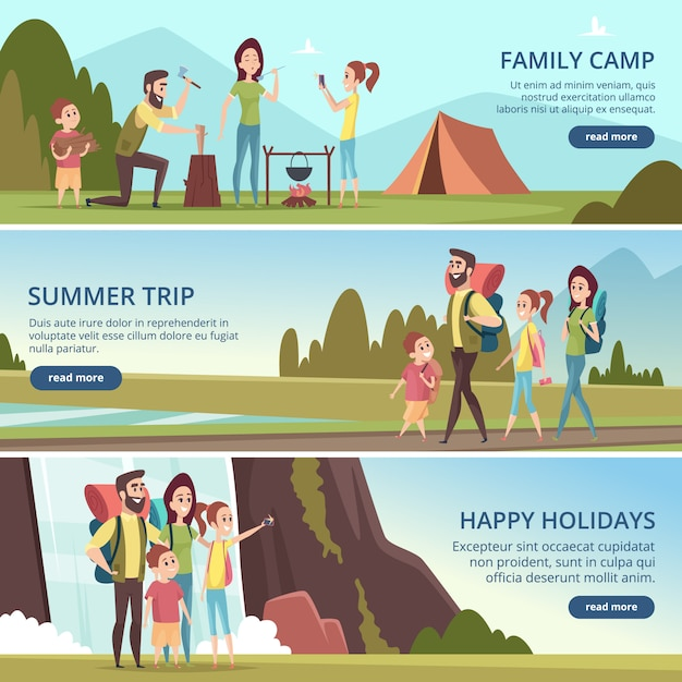 Family hiking banners. kids with parents camping outdoor explorers mountain walking vector characters Premium Vector