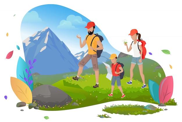 Family hiking, mountain tourism, outdoor activity Premium Vector
