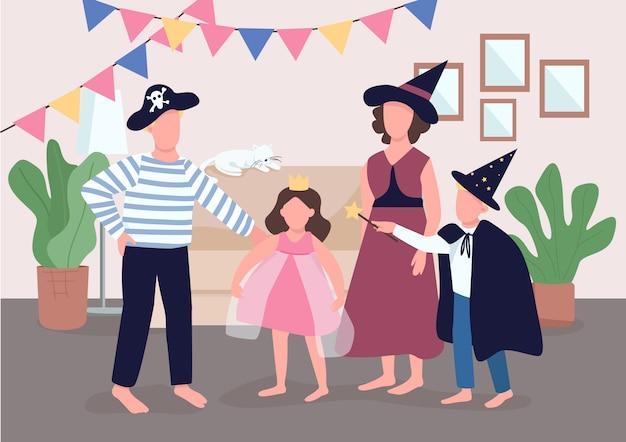 가족 휴가 축하 컬러 일러스트입니다. 부모는 아이들이 할로윈을 준비하도록합니다. 아이들은 복장을 차려 입습니다. 배경에 인테리어와 친척 만화 캐릭터 프리미엄 벡터