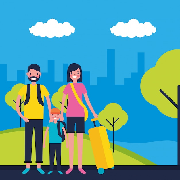 Family on holidays Free Vector