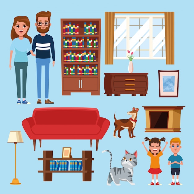 Family and home cartoons Premium Vector