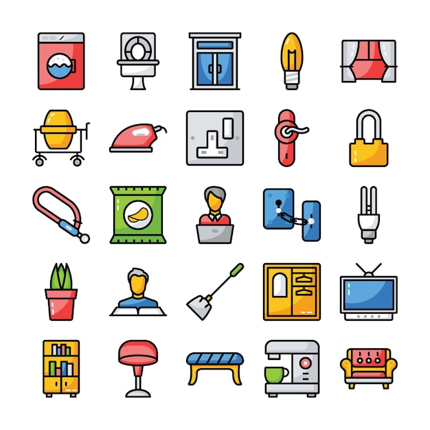 Family and home flat icons pack Premium Vector