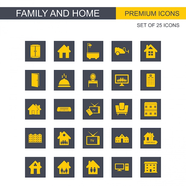 Family and home icons set vector Free Vector