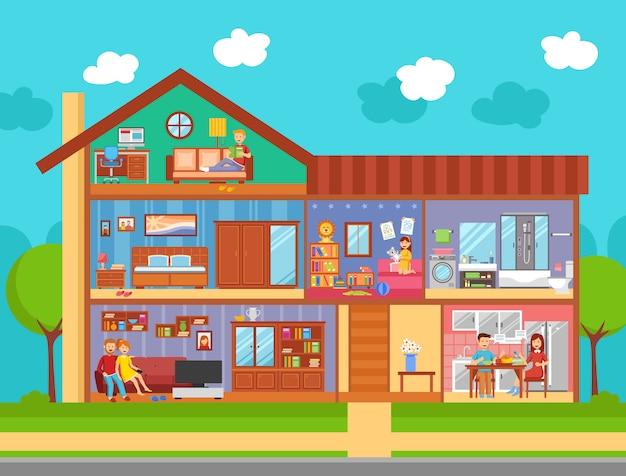 Family home interior design concept Free Vector