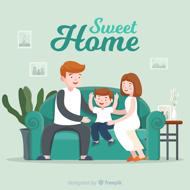 Family at home Free Vector