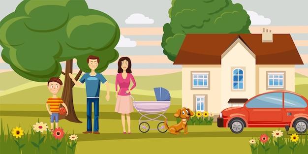 Family horizontal background concept garden Premium Vector
