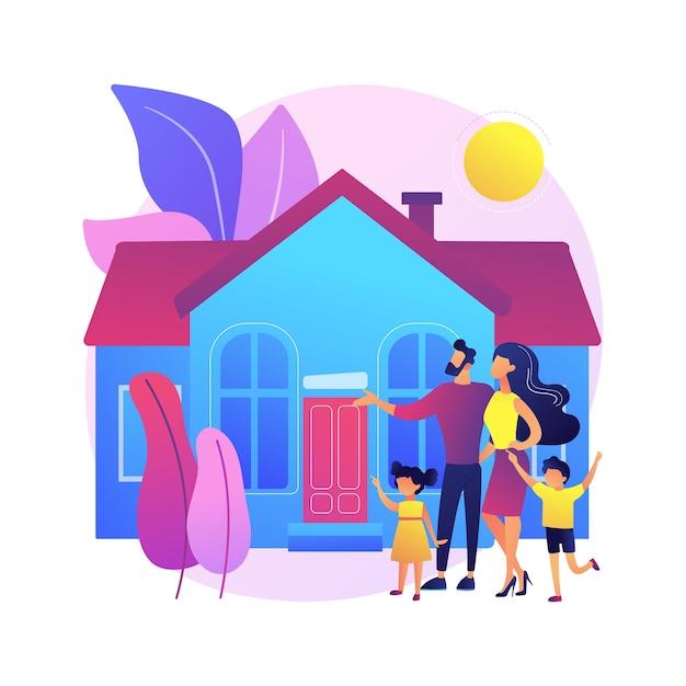 Illustrazione di concetto astratto casa famiglia. casa unifamiliare, villa bifamiliare, unità abitativa singola, terratetto, residenza privata, mutuo ipotecario, acconto. Vettore gratuito