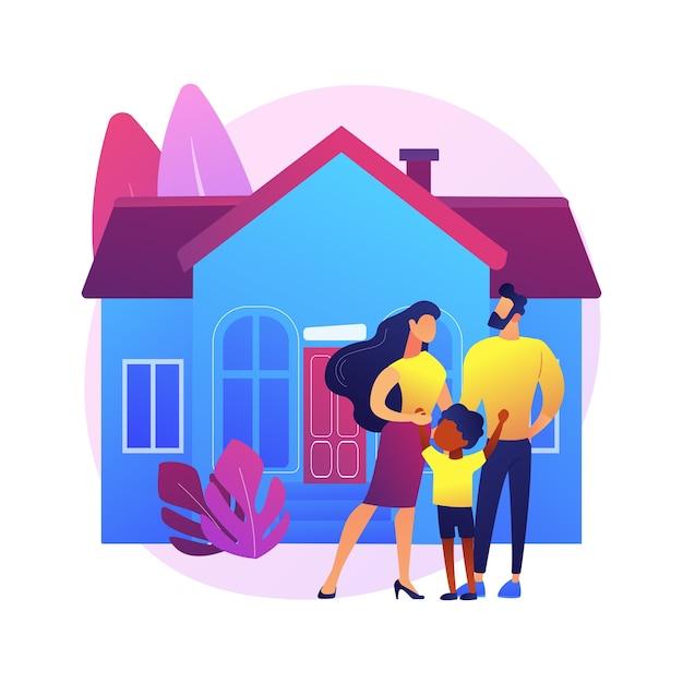 家族の家の抽象的な概念図。一戸建て戸建住宅、一戸建て、一戸建て、タウンハウス、個人住宅、住宅ローン、頭金。 無料ベクター