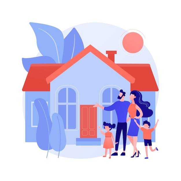 家族の家の抽象的な概念のベクトル図です。一戸建て一戸建て、一戸建て、一戸建て、タウンハウス、個人住宅、住宅ローン、頭金の抽象的な比喩。 無料ベクター