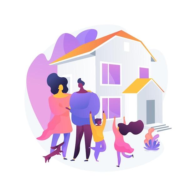 가족 집 추상 개념 벡터 일러스트입니다. 단독 주택, 가족 주택, 단독 주택, 연립 주택, 개인 주택, 모기지 대출, 계약금 추상 은유. 무료 벡터