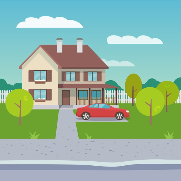 Family house flat Free Vector