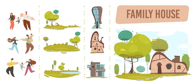 Family house, happy people and nature craft set Premium Vector