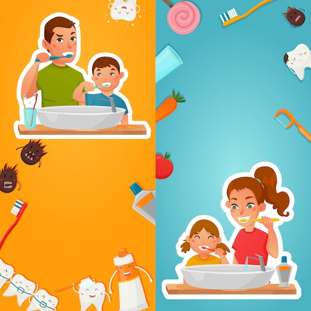Family hygiene of teeth vertical banners Free Vector