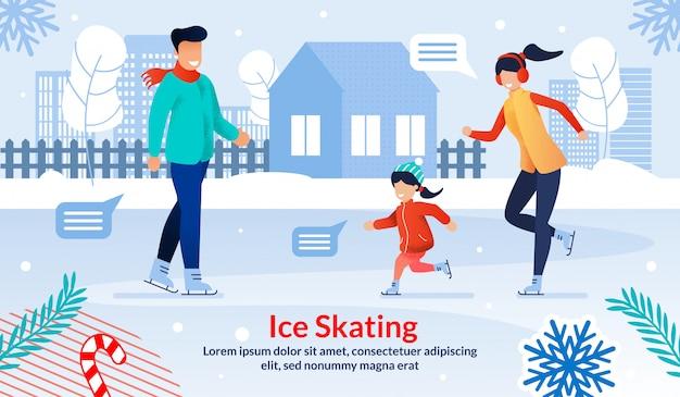 Family ice skating outdoor flat vector illustration Premium Vector