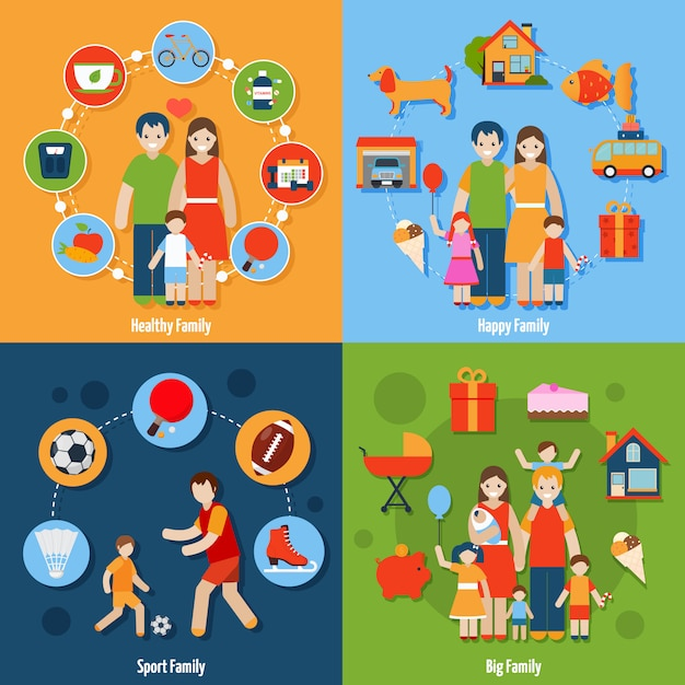 Family icons set Free Vector