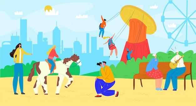 Семья в парке атракционов с каруселью, развлечениями на иллюстрации ярмарочной площади. счастливый мужчина женщина дети на ярмарке, карнавал отдыха. фестиваль мультипликационных досуговых каникул. Premium векторы