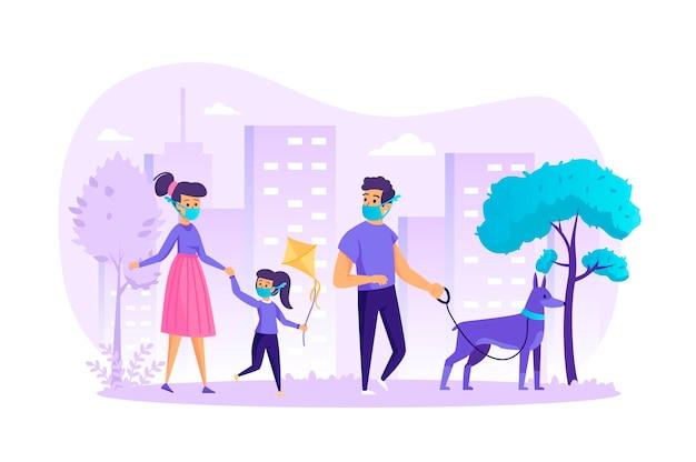 사람들이 문자 장면 개 평면 설계 개념으로 걷는 의료 마스크 가족 프리미엄 벡터