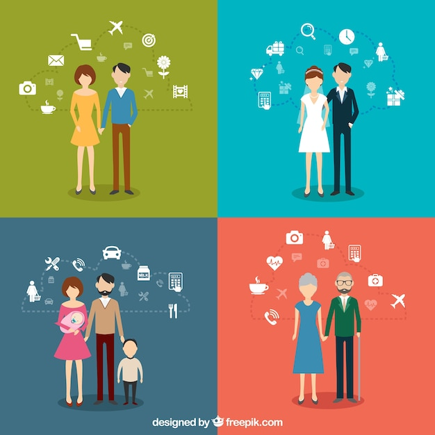 Family infographics Premium Vector