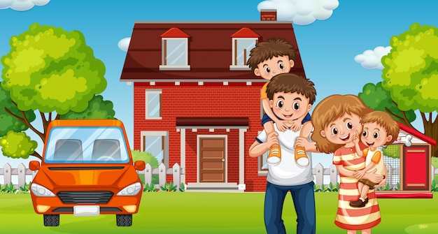 Family infront of home Free Vector