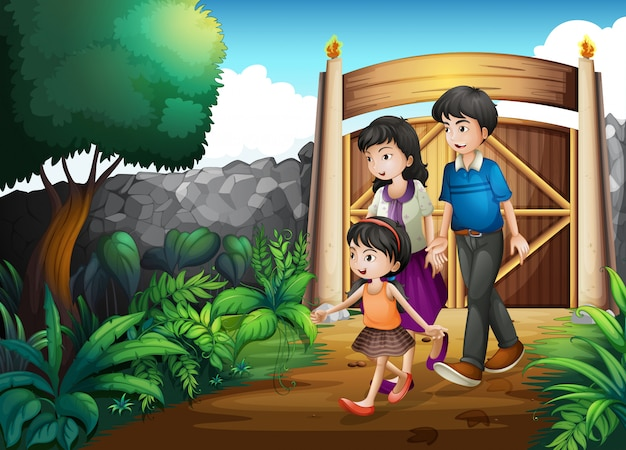 A family inside the gate Premium Vector