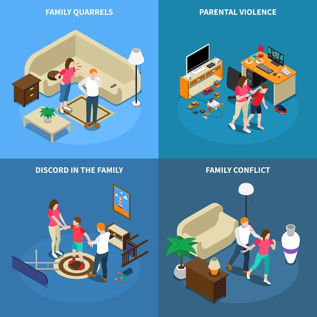 Family issues isometric design concept with quarrels, parental violence, disagreement, conflict, isolated Free Vector