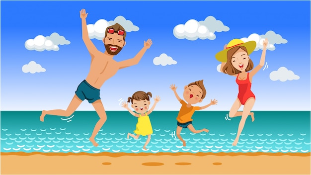 Family jumping together on beach Premium Vector