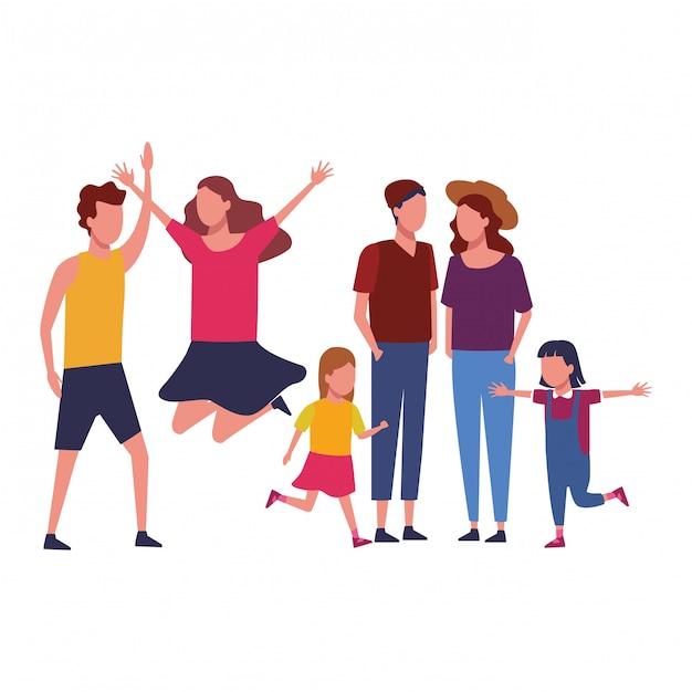 Family and kids cartoon Premium Vector