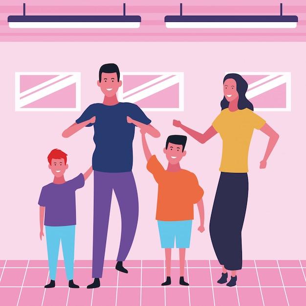 Family and kids cartoons Premium Vector
