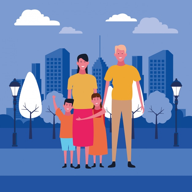 Family and kids cartoons Premium Vector