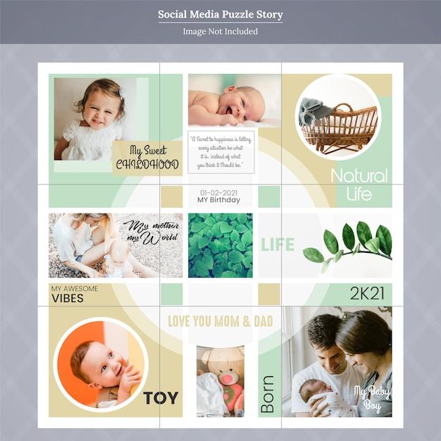 Family & kids social media instagram story Premium Vector