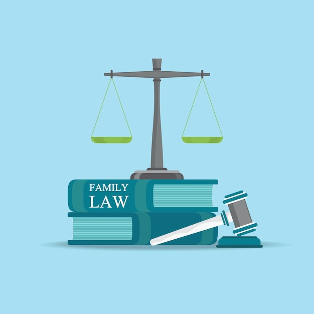 Family  law books with a judges gavel in flat style. Premium Vector