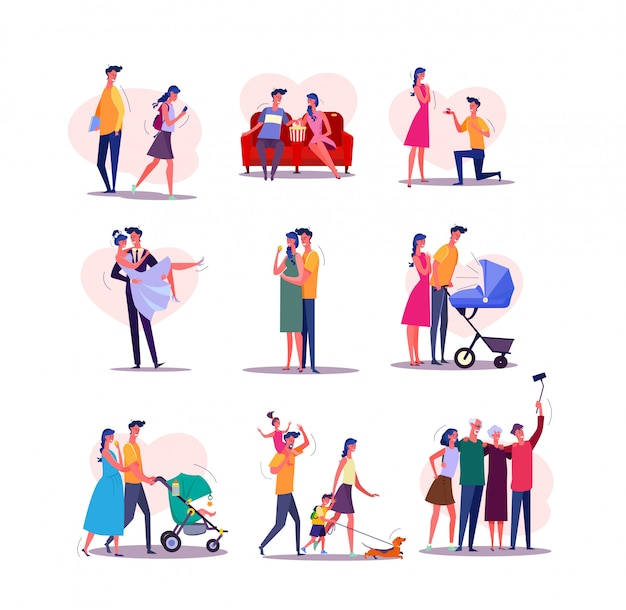 Family life cycle set Free Vector
