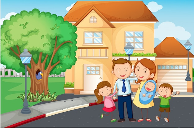 Family living at home Free Vector