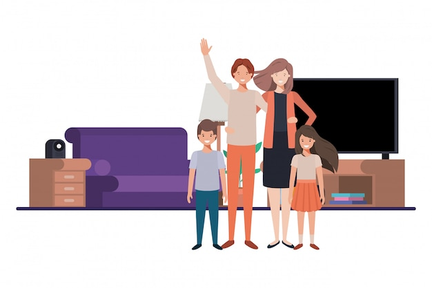 Family in living room avatar character Premium Vector