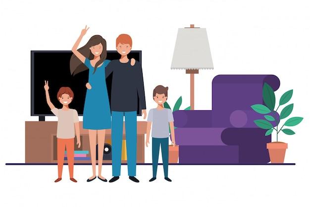 Family in living room avatar character Premium Vector