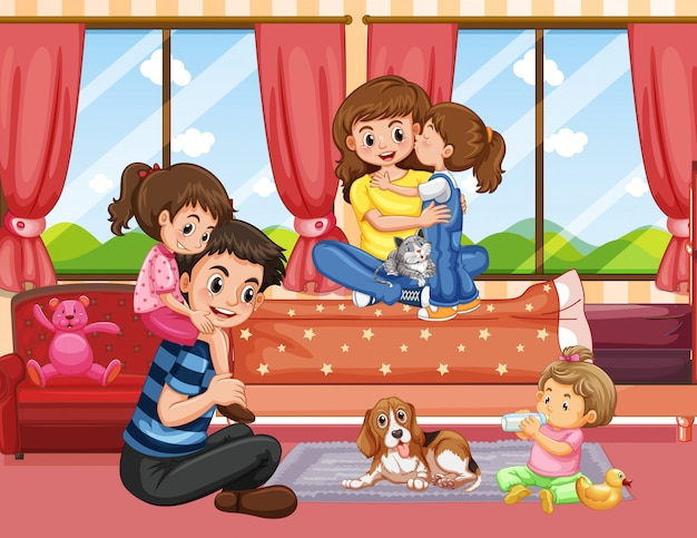 Family in living room scene or background Vector   Free Download