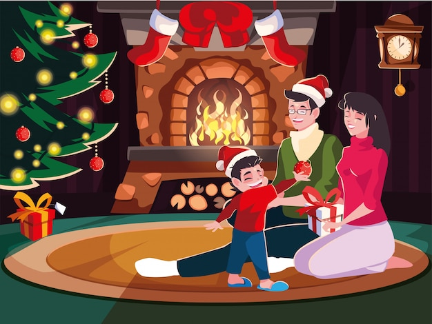 Family in living room with christmas decoration, christmas evening scene Premium Vector