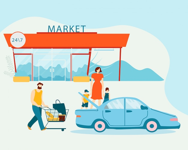 Family loading purchases in car after shopping Premium Vector