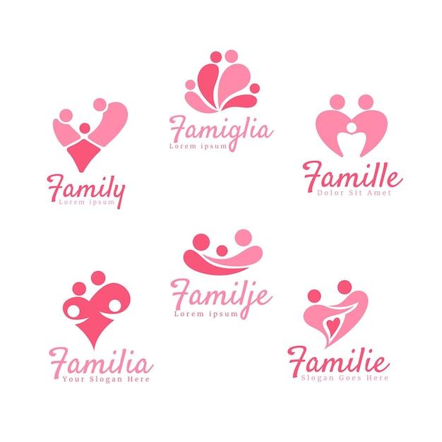 家族のロゴコレクションのコンセプト 無料ベクター