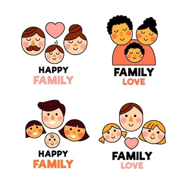 Семейная коллекция логотипов, иллюстрированная Бесплатные векторы