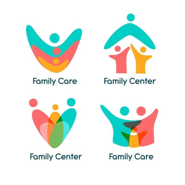 Семейная тема коллекции логотипов Бесплатные векторы
