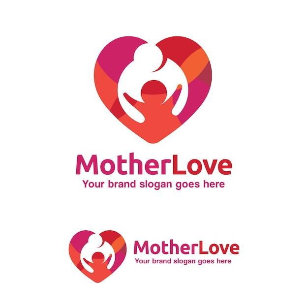 Family Love Logo Mother And Child With Heart Symbol Kid Brand