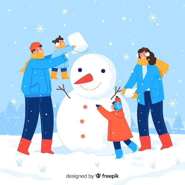 Family making together a snowman Free Vector
