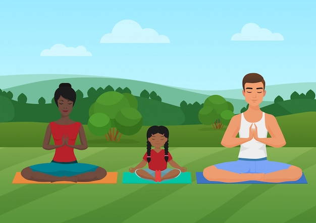 Family meditating on the nature. Premium Vector