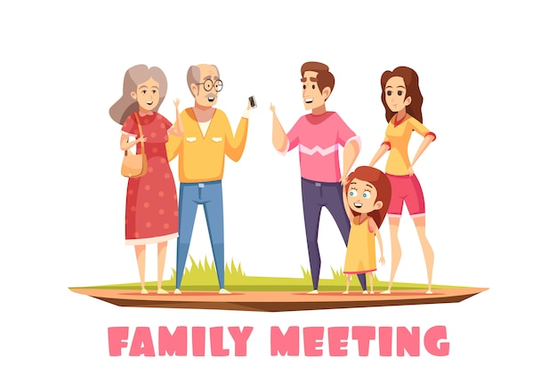 Family meeting composition Free Vector