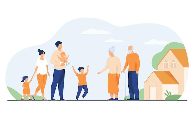 조부모 국가 집에서 가족 회의. 할머니와 할아버지, 할머니에게 달리는 소년을 방문하는 흥분된 어린이와 부모. 행복한 가족, 사랑, 육아를위한 벡터 일러스트 레이션 무료 벡터
