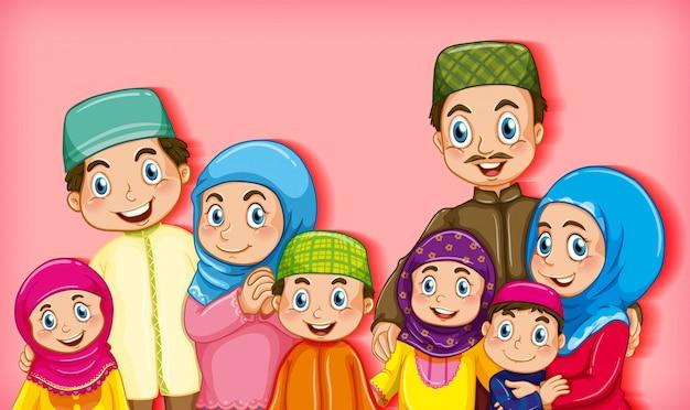 Membro della famiglia su sfondo sfumato di colore personaggio dei cartoni animati Vettore gratuito
