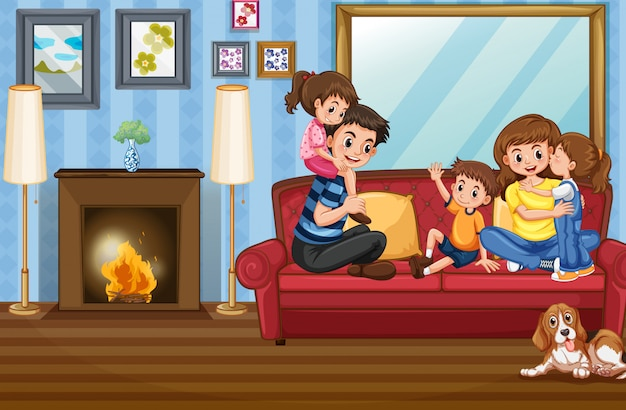 Family member at the house Free Vector