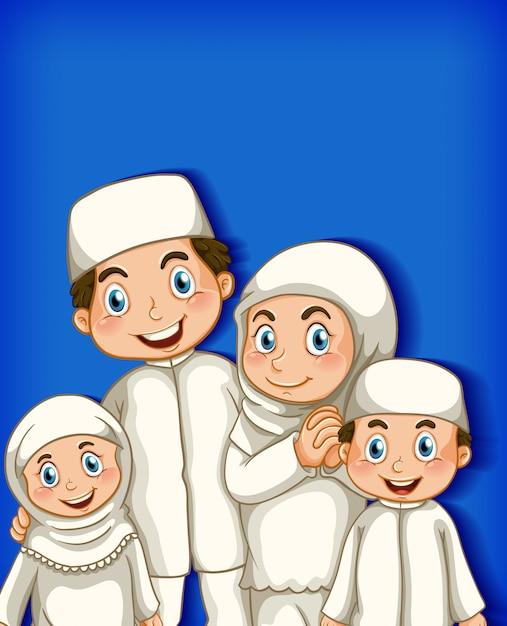 漫画のキャラクターの色のグラデーションの背景に家族 無料ベクター