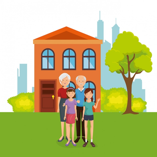 Family members away from home Free Vector